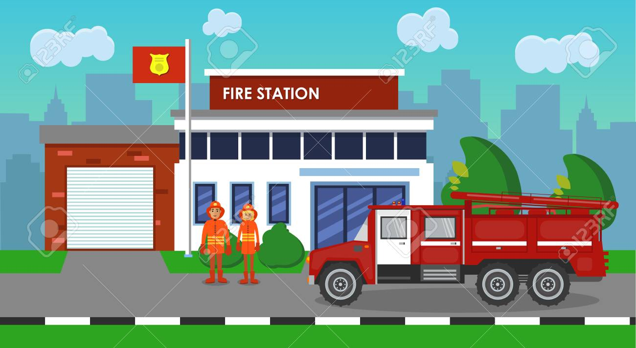 hight resolution of the composition of fire truck and station vector