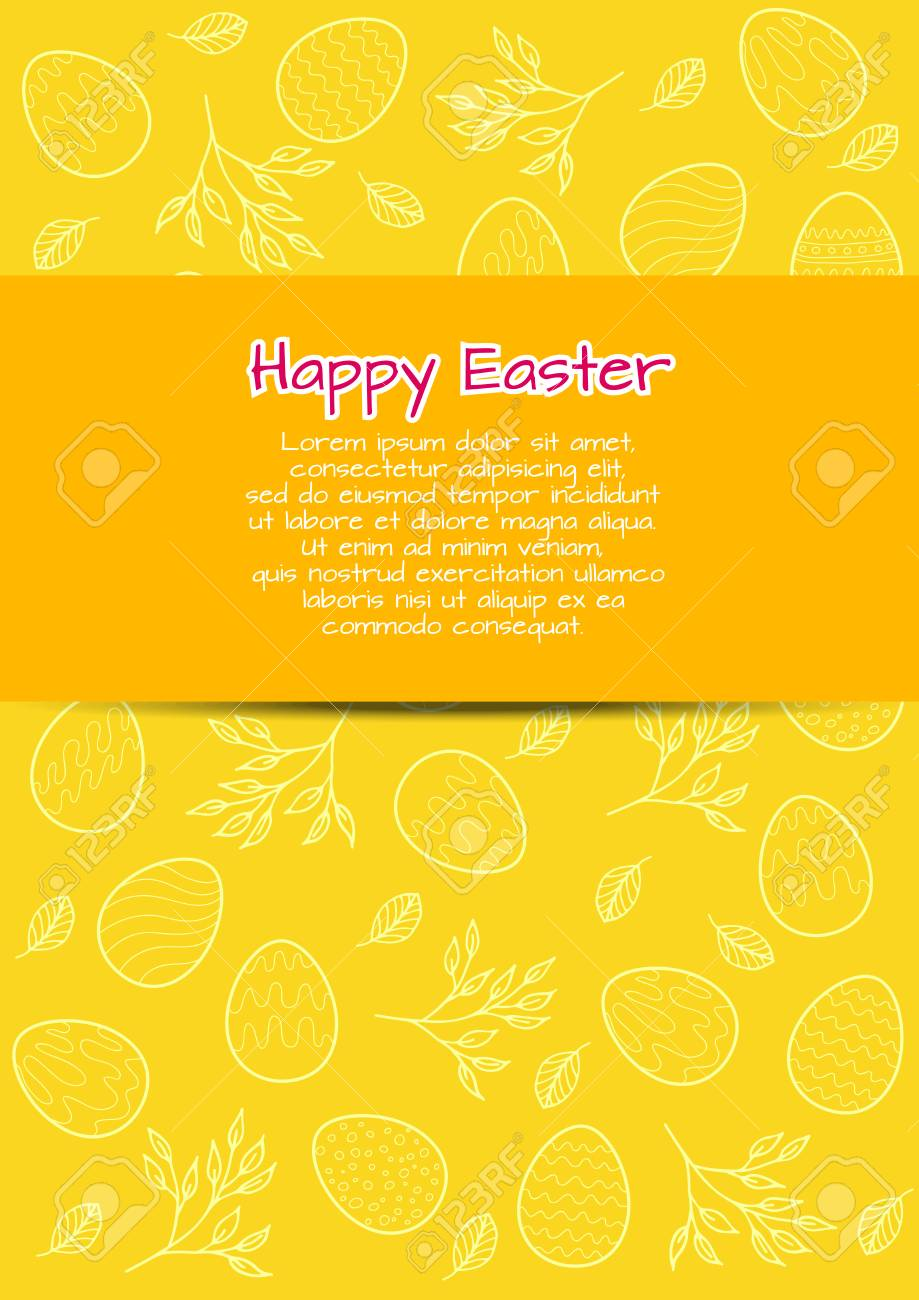 Flyer Template With Easter Bavkground. May Be Used As A Greeting Card Stock  Vector -