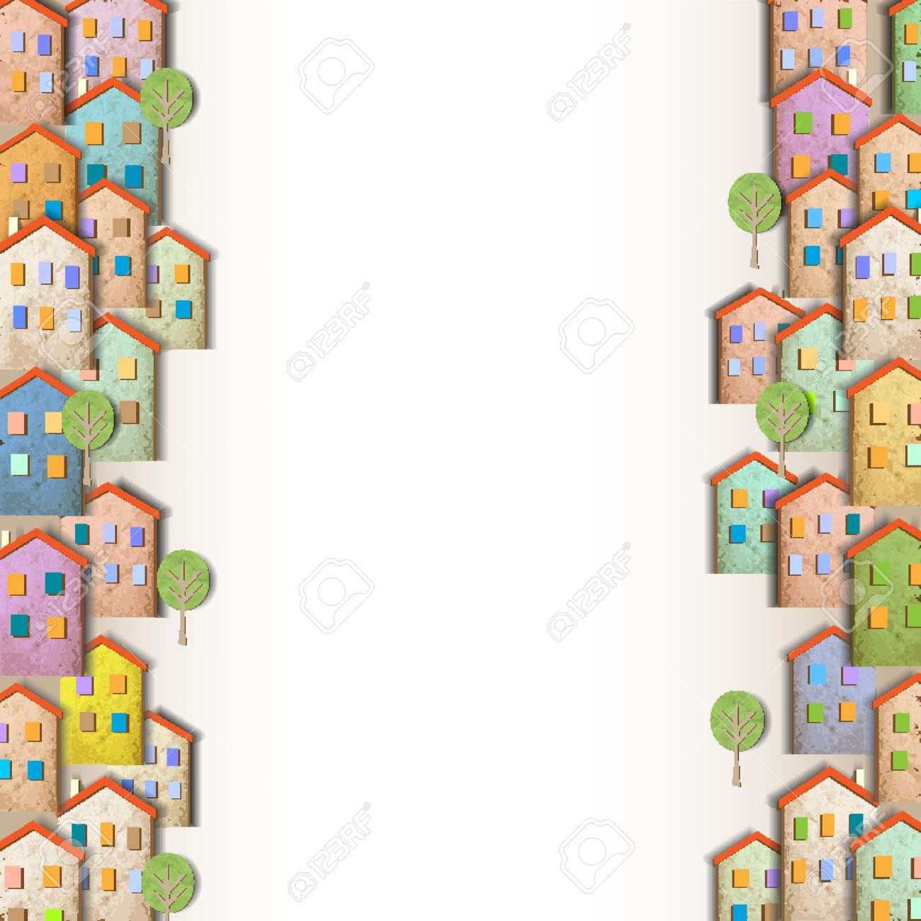 Borders Of Colorful Homes Made From Old Paper Royalty Free