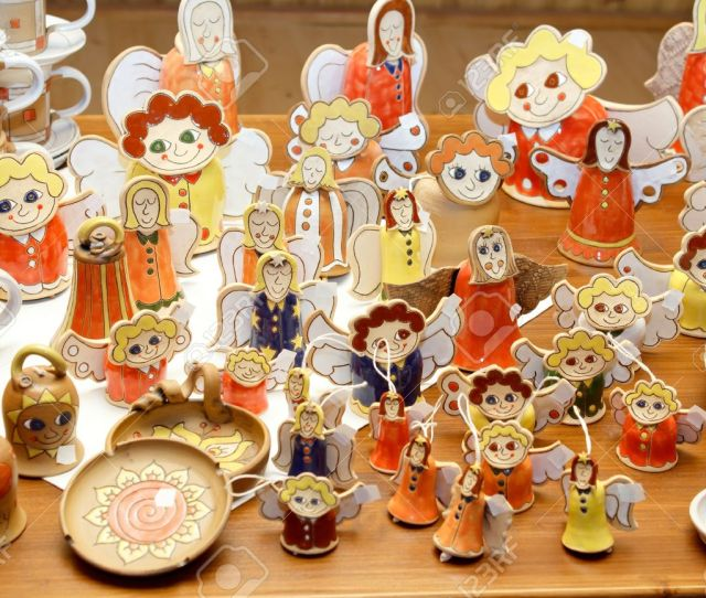 Hand Made Ceramic Christmas Decorations Angels And Other Figures Stock Photo