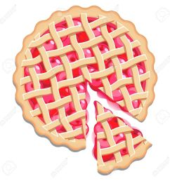 cherry pie with a lattice pastry dough top and a cut slice isolated stock vector [ 1300 x 1300 Pixel ]