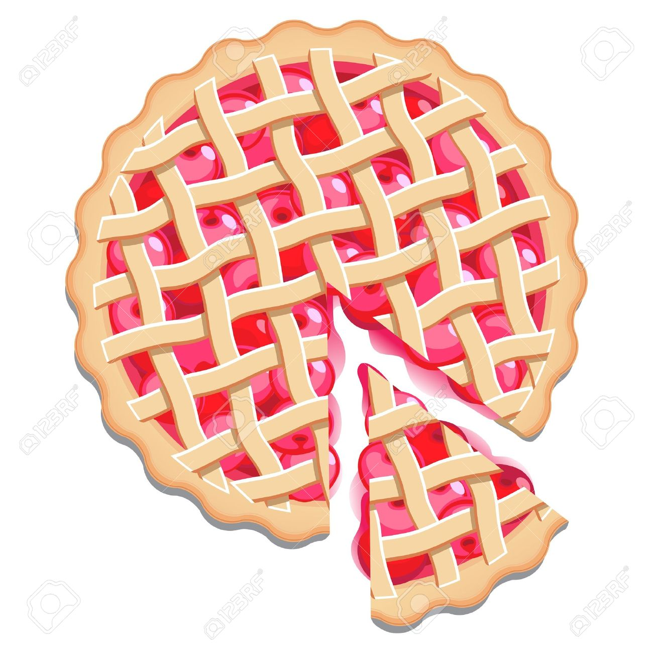 hight resolution of cherry pie with a lattice pastry dough top and a cut slice isolated stock vector