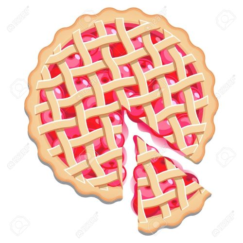 small resolution of cherry pie with a lattice pastry dough top and a cut slice isolated stock vector