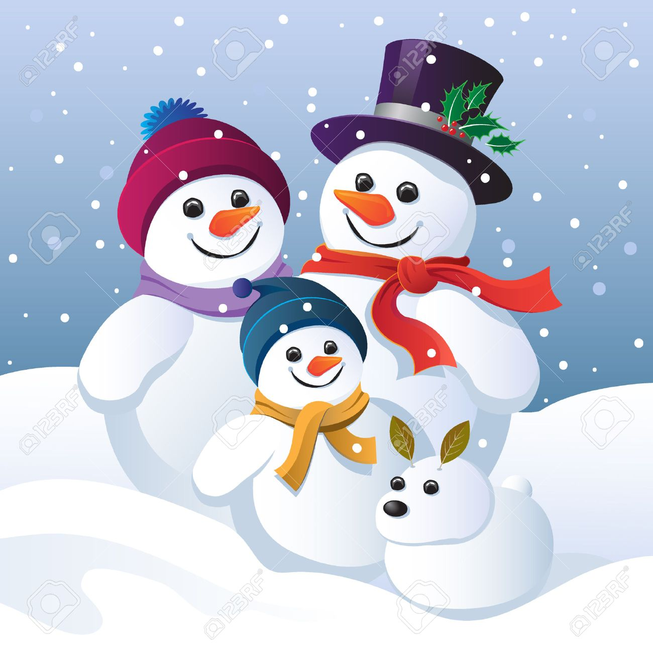 hight resolution of snowman family and snow dog in a winter landscape
