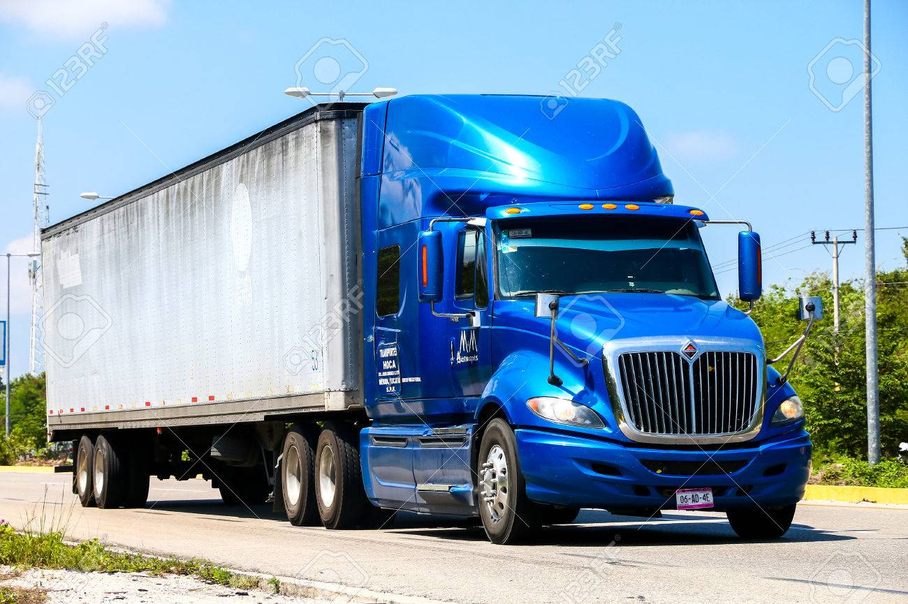hight resolution of quintana roo mexico may 16 2017 semi trailer truck international prostar