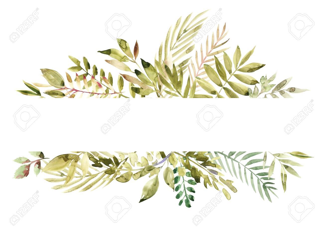 aquarelle peinte a la main banniere florale verte isole sur fond blanc guerir les herbes pour les cartes faire part de mariage affiches