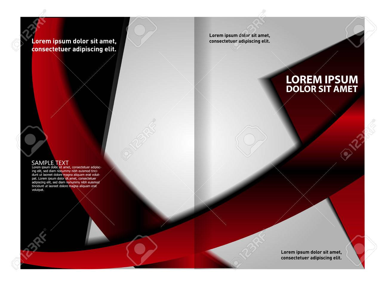 Vector - Vector Modern Bi-Fold Brochure Design Template With Red Background