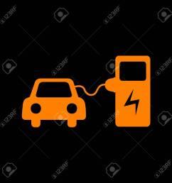electric car battery charging sign orange icon on black background old phosphor monitor  [ 1300 x 1300 Pixel ]
