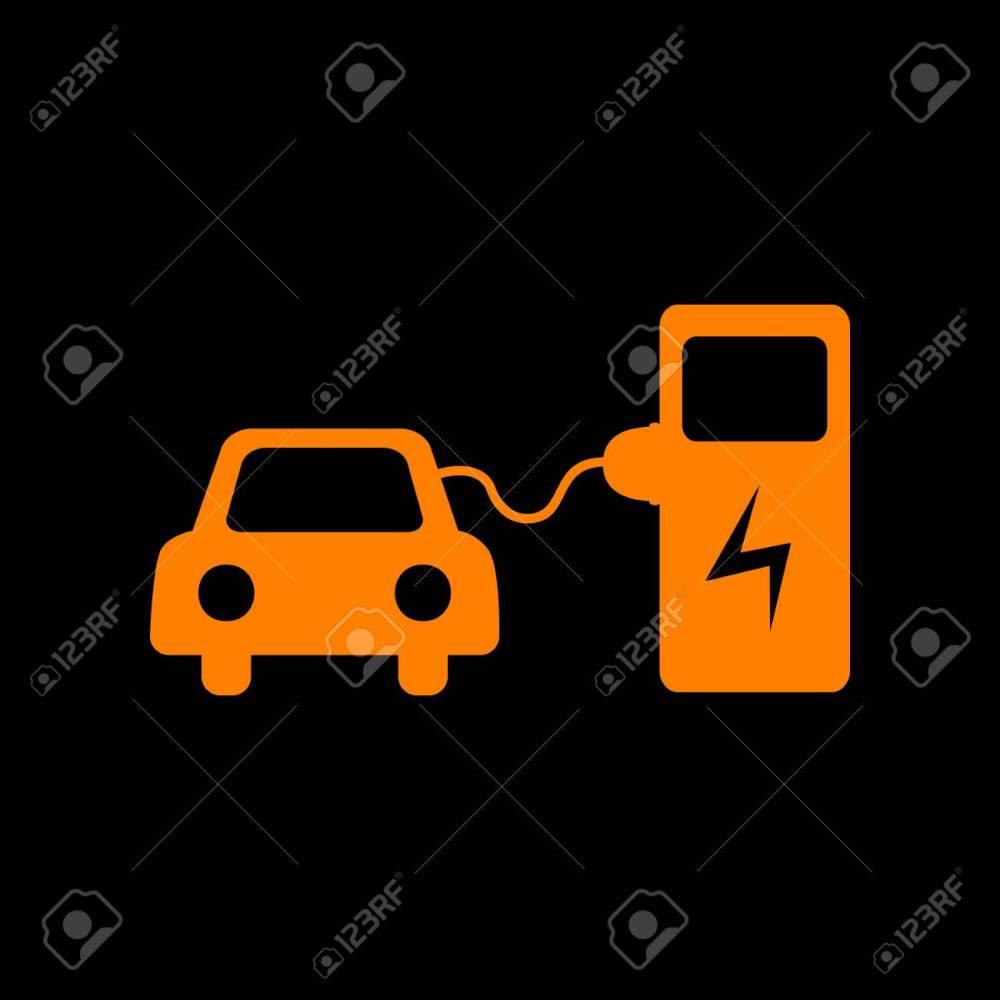 medium resolution of electric car battery charging sign orange icon on black background old phosphor monitor