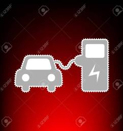 electric car battery charging sign postage stamp or old photo style on red black [ 1300 x 1300 Pixel ]