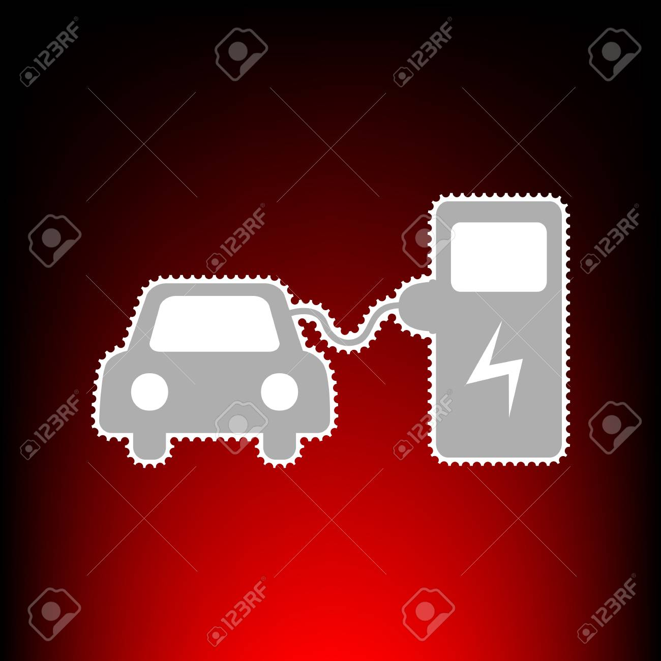 hight resolution of electric car battery charging sign postage stamp or old photo style on red black
