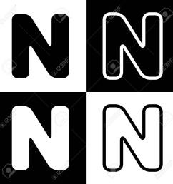 letter n clipart black and white [ 1300 x 1300 Pixel ]