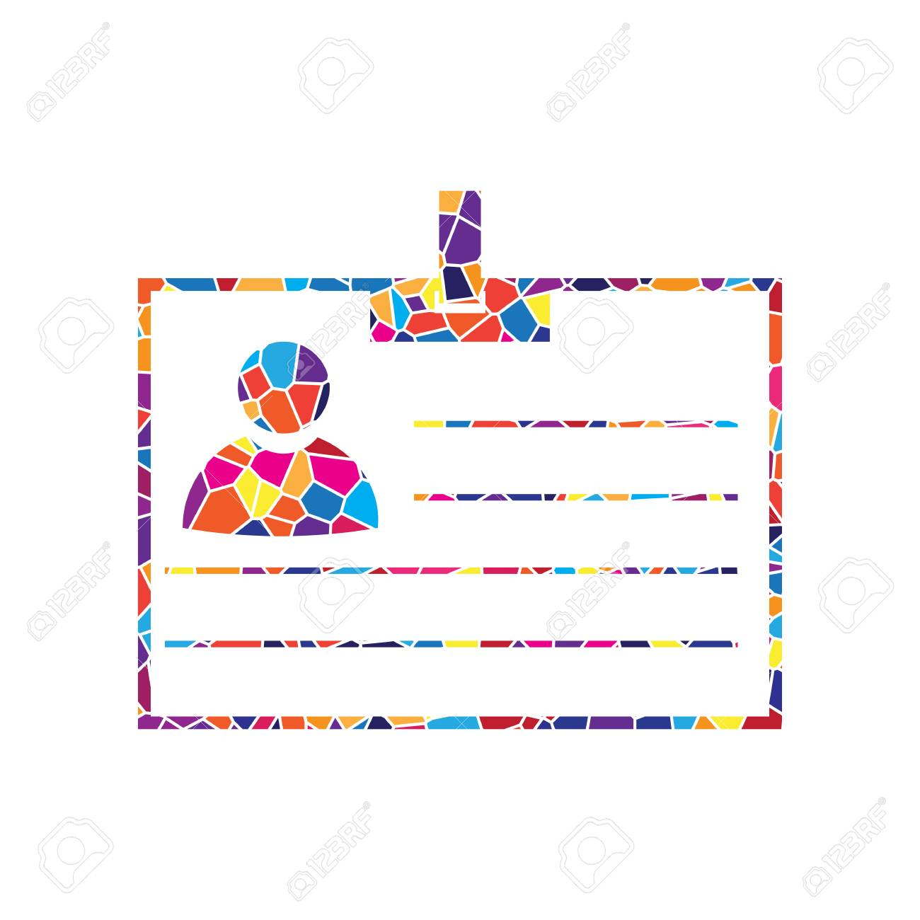 hight resolution of stained glass icon on white background colorful polygons