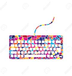 keyboard simple sign vector stained glass icon on white background colorful polygons  [ 1300 x 1300 Pixel ]