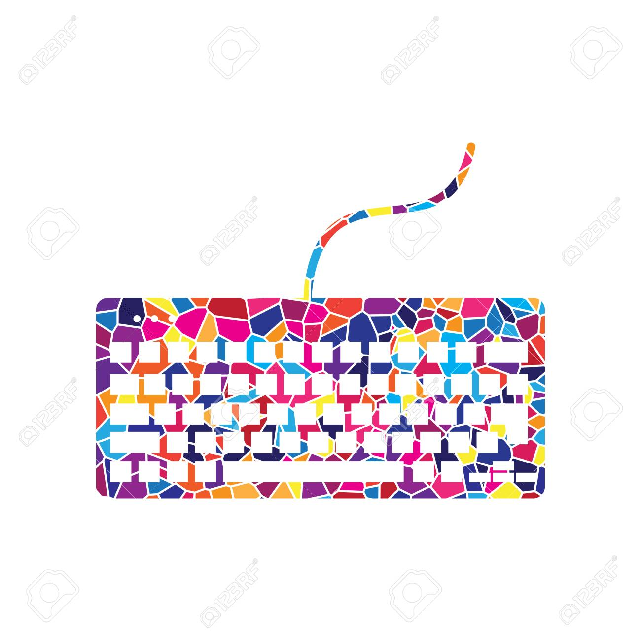 hight resolution of keyboard simple sign vector stained glass icon on white background colorful polygons