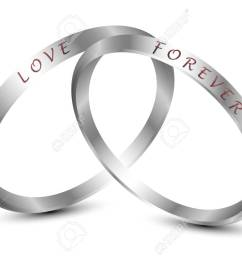 silver wedding rings engraved with the text love forever stock vector 92600385 [ 1300 x 918 Pixel ]