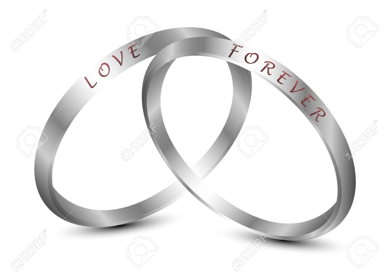 hight resolution of silver wedding rings engraved with the text love forever stock vector 92600385