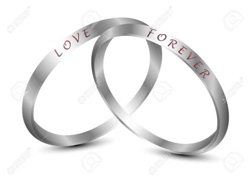 small resolution of silver wedding rings engraved with the text love forever stock vector 92600385