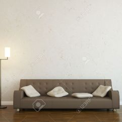 Wall Sofa Seat Cushion Covers Only Leather And A Lamp Near The Stock Photo Picture 15121941