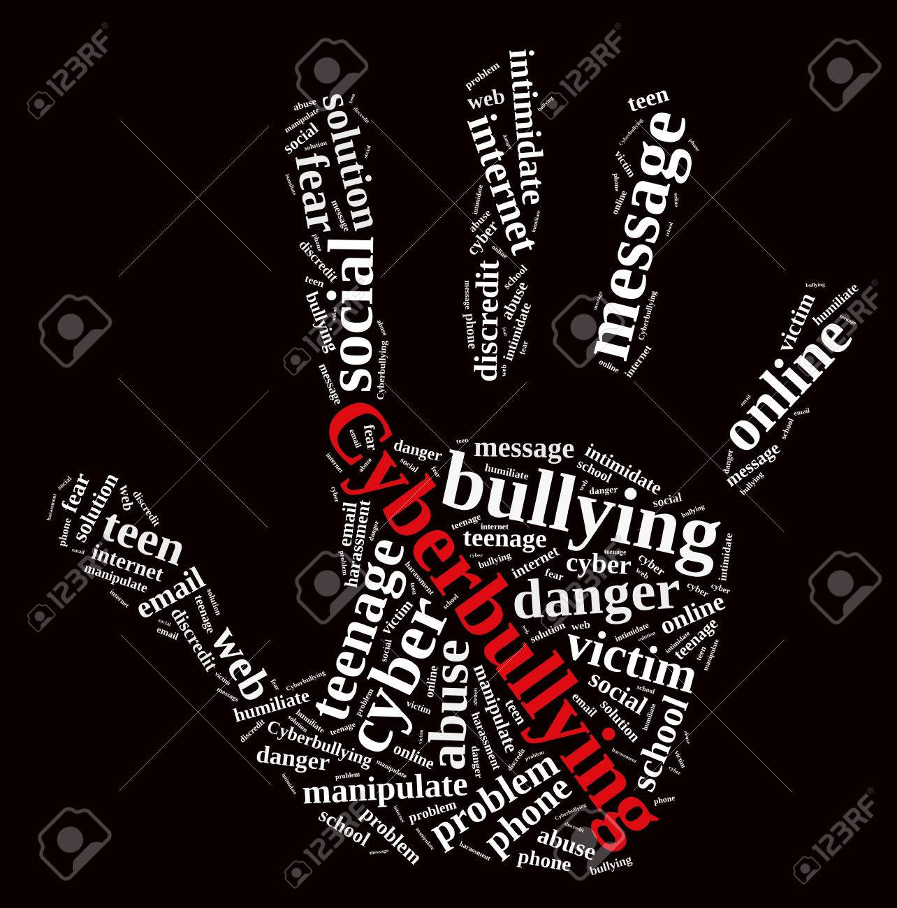 hight resolution of illustration with word cloud on cyberbullying