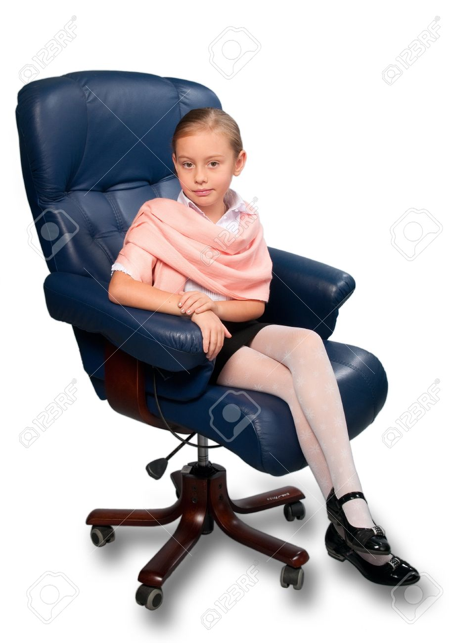 little girl chairs gaming racing chair reviews portrait of attractive sitting on office isolated white stock photo
