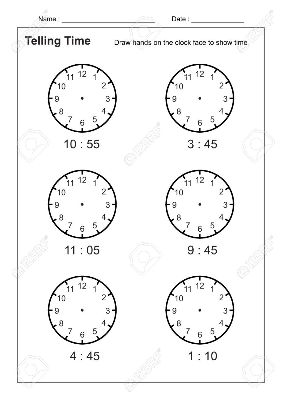 medium resolution of Telling Time Telling The Time Practice For Children Time Worksheets..  Royalty Free Cliparts