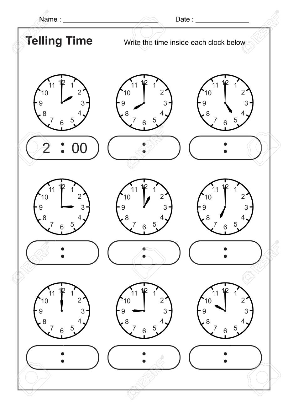 hight resolution of Telling Time Telling The Time Practice For Children Time Worksheets..  Royalty Free Cliparts