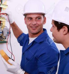 electrical safety inspectors verifying central fuse box stock photo 12006082 [ 1300 x 866 Pixel ]