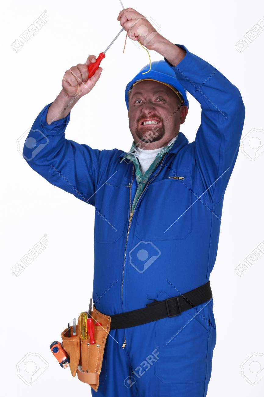 medium resolution of electrician with faulty wiring stock photo 13645778