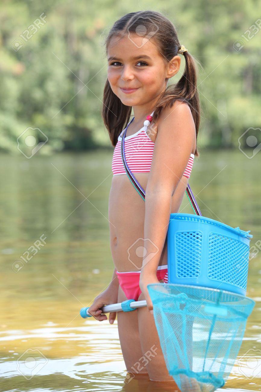 cute little girl fishing