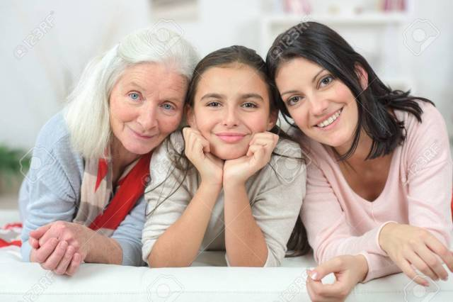 Three Generation Of Women On A Sofa Stock Photo, Picture And ...
