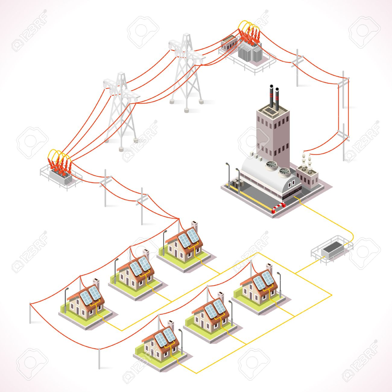 hight resolution of electric energy distribution chain infographic concept isometric 3d electricity grid elements power grid powerhouse providing