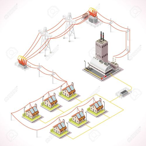 small resolution of electric energy distribution chain infographic concept isometric 3d electricity grid elements power grid powerhouse providing