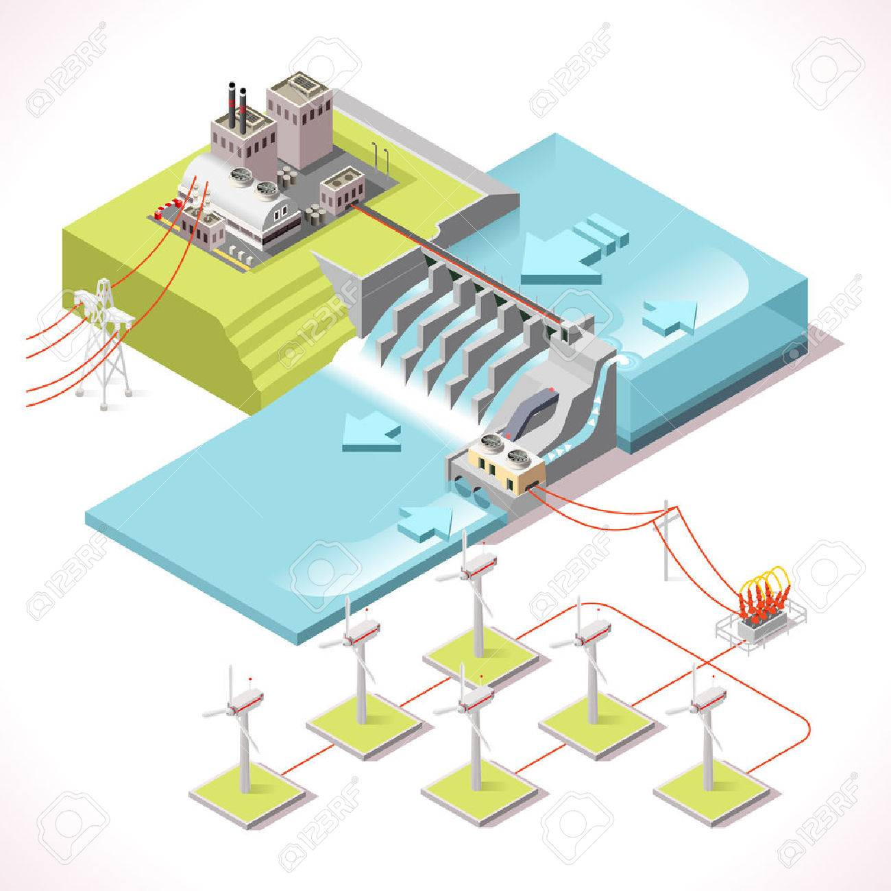 hight resolution of hybrid power systems hydroelectric plant and windmill factory isometric electric power station electricity grid and