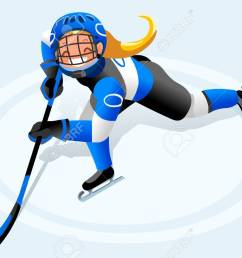ice hockey vector cartoon clipart winter sports background with hockey athlete playing winter olympics competition [ 1300 x 865 Pixel ]