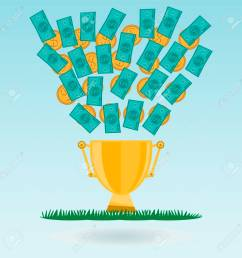dollar banknotes and coins flying in a golden trophy cup green grass cash expenditure [ 1300 x 1300 Pixel ]