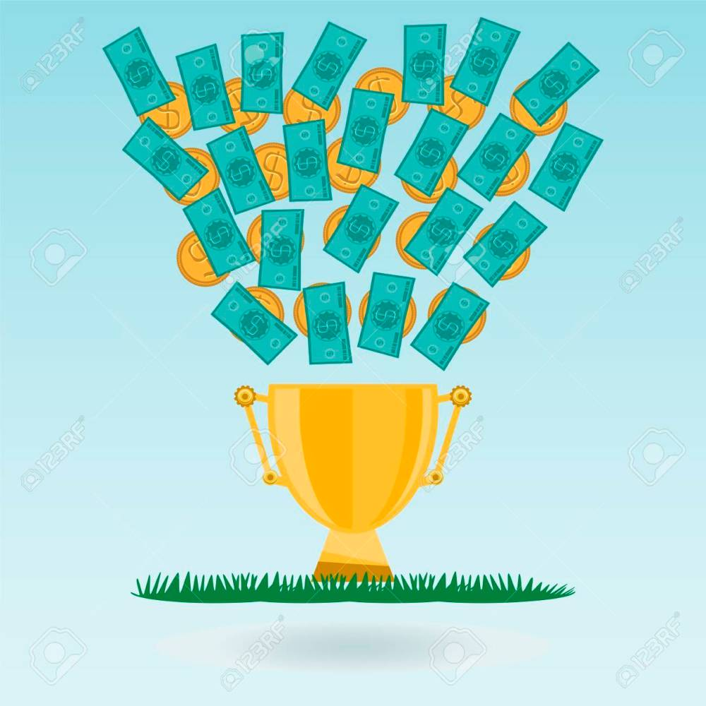 medium resolution of dollar banknotes and coins flying in a golden trophy cup green grass cash expenditure