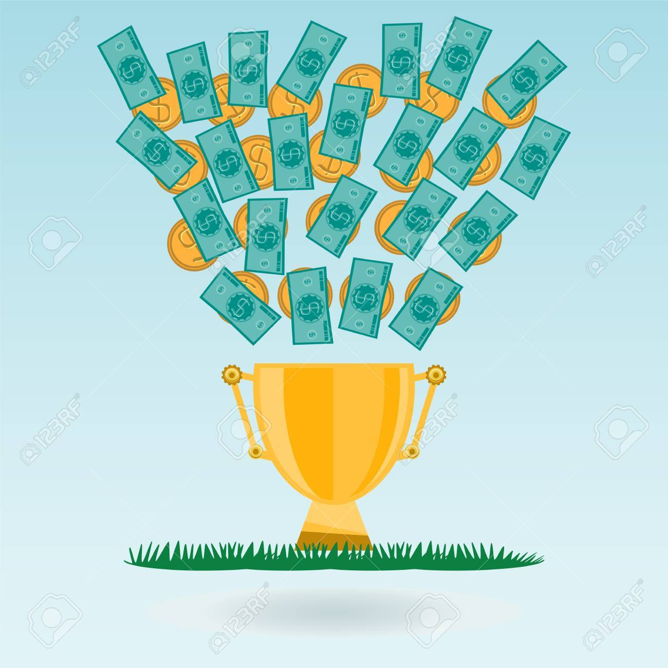 hight resolution of dollar banknotes and coins flying in a golden trophy cup green grass cash expenditure