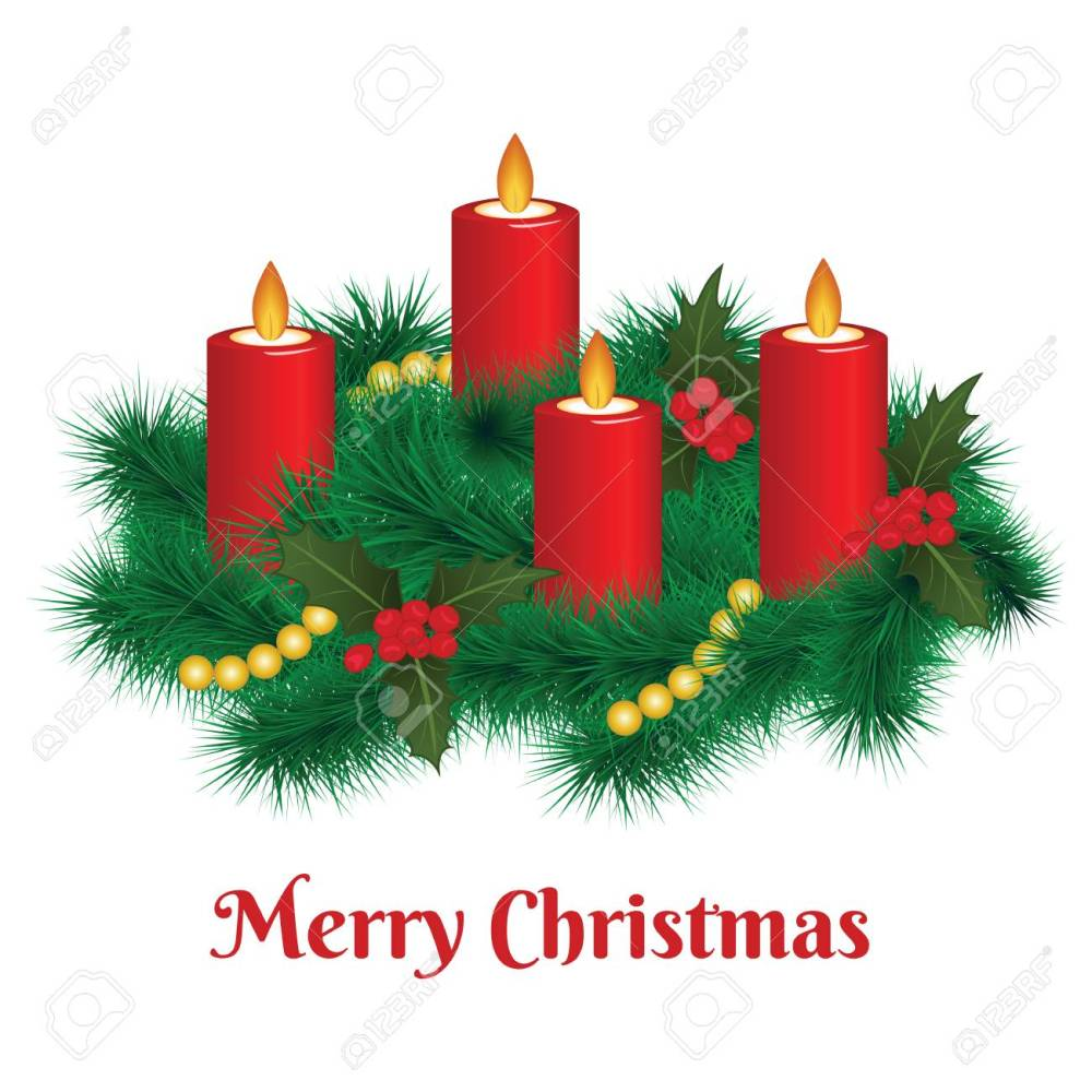medium resolution of advent wreath with burning candles merry christmas stock vector 91755494
