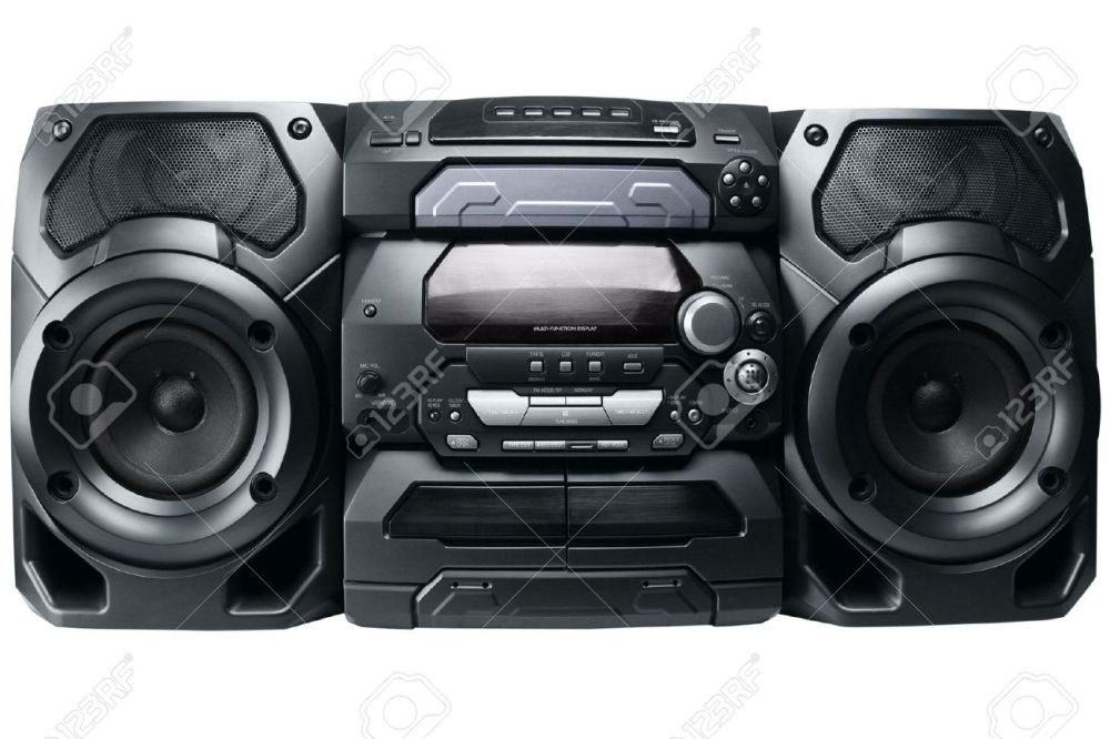 medium resolution of compact stereo system cd and cassette player with radio isolated on white background stock photo