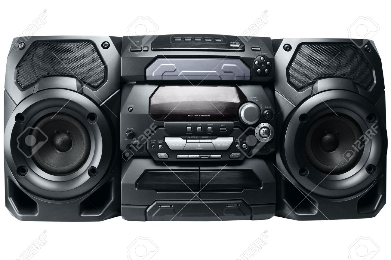 hight resolution of compact stereo system cd and cassette player with radio isolated on white background stock photo