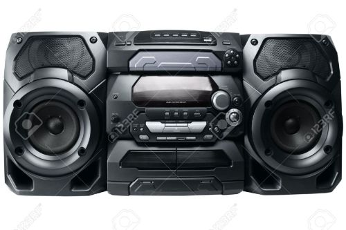 small resolution of compact stereo system cd and cassette player with radio isolated on white background stock photo
