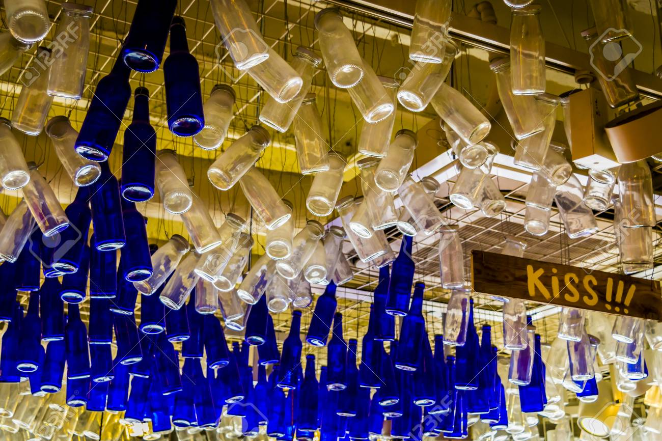 colorful bottles hanging from
