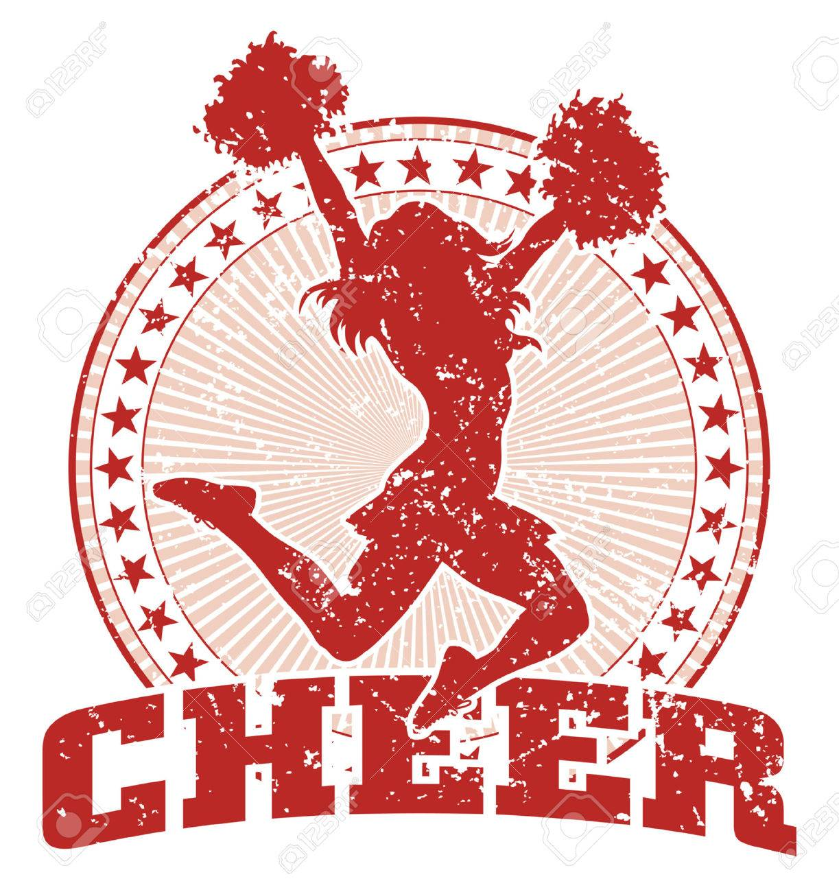 hight resolution of cheer design illustration of a cheer design in a vintage style with a cheerleader silhouette