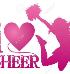 i love cheer with jumping cheerleader is an illustration of a cheer design for cheerleaders  [ 1300 x 902 Pixel ]