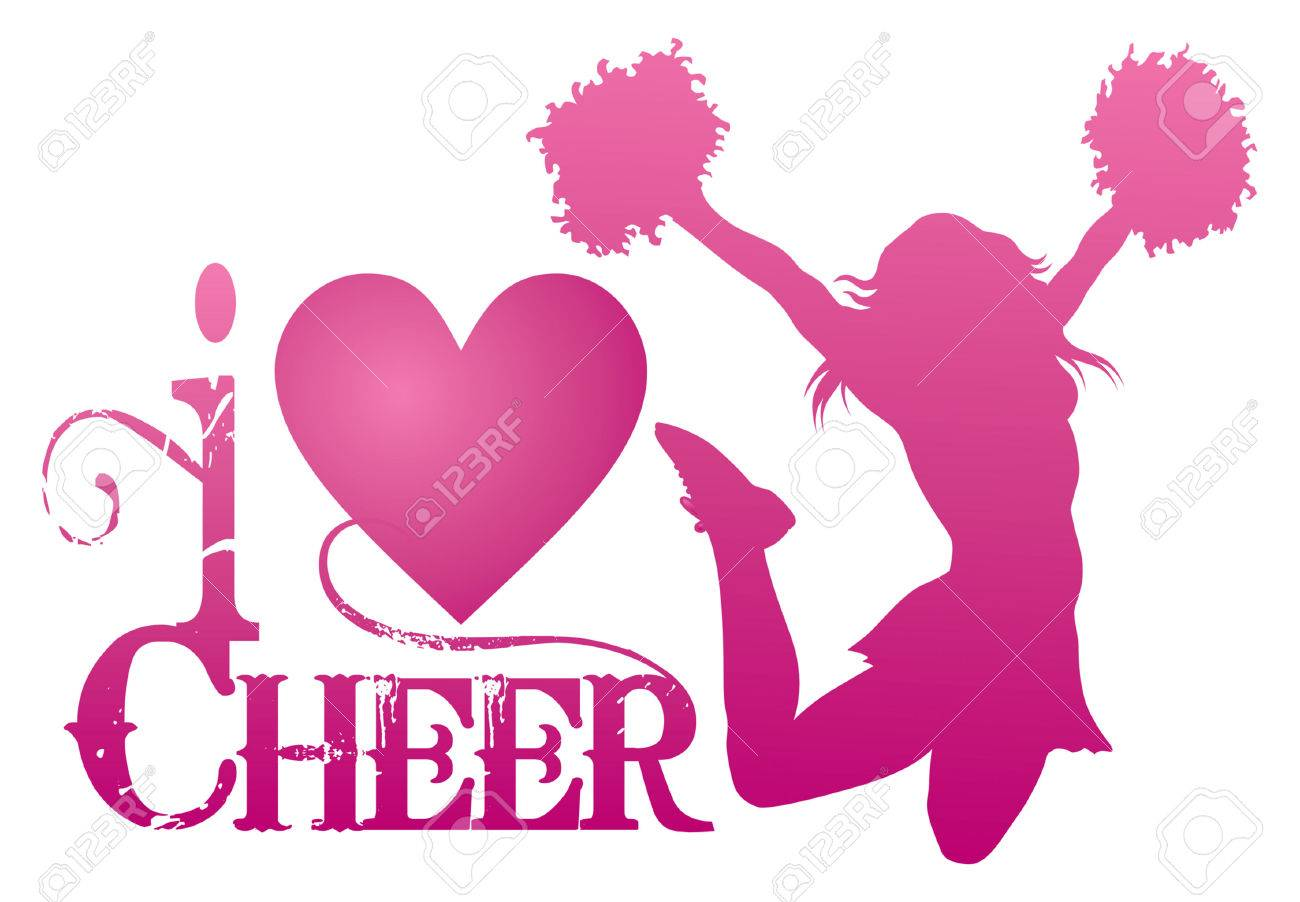 hight resolution of i love cheer with jumping cheerleader is an illustration of a cheer design for cheerleaders