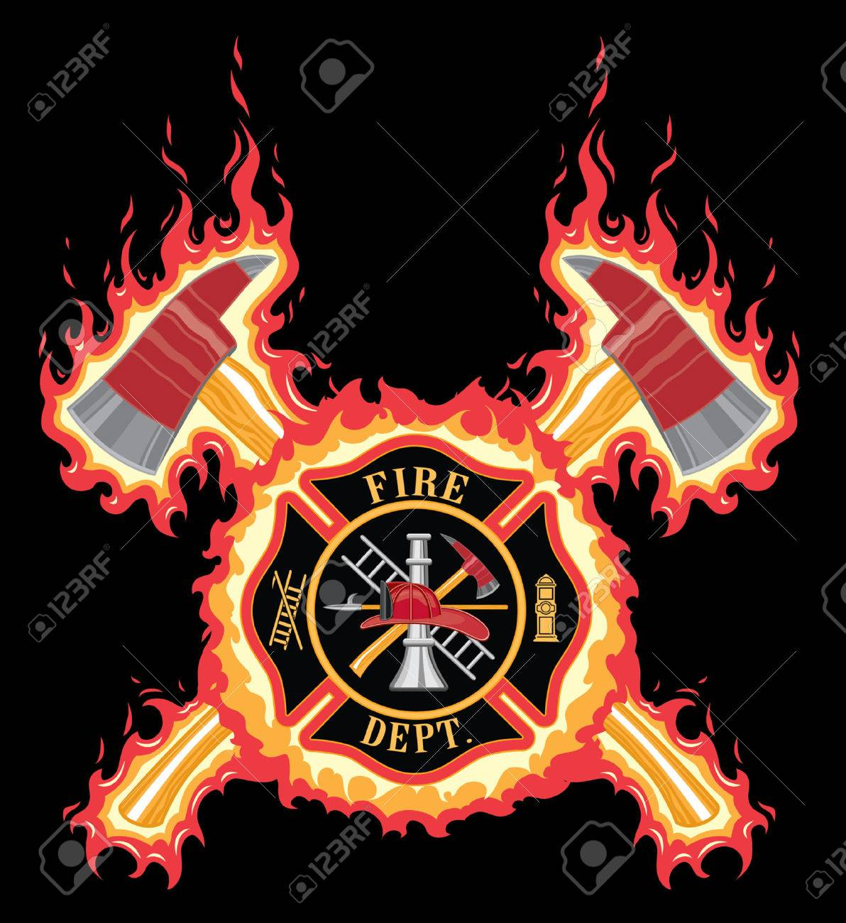 hight resolution of firefighter cross with axes and flames is an illustration of a fire department or firefighter cross
