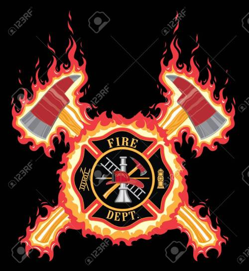small resolution of firefighter cross with axes and flames is an illustration of a fire department or firefighter cross