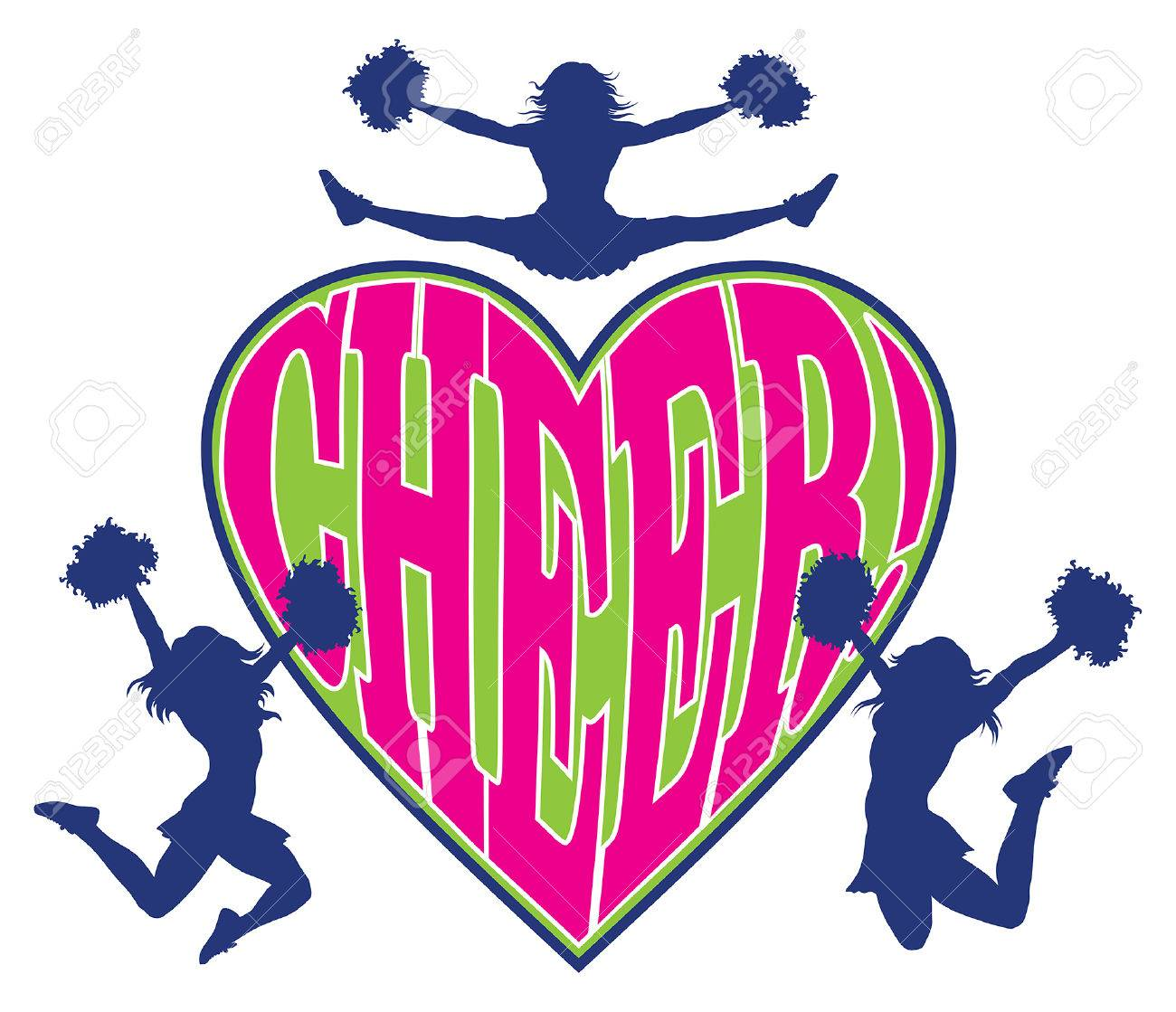 hight resolution of cheer heart is an illustration of a cheerleader design which includes three cheerleaders and the word