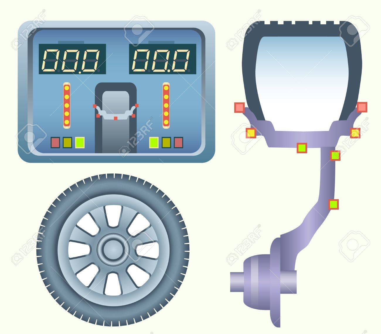 hight resolution of perfect wheel balancing diagram of car disk with the tire on the balancing machine